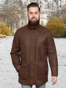 Higgs Leathers SAVE £80!  Spike   (Cognac Leather Parka jacket for men)